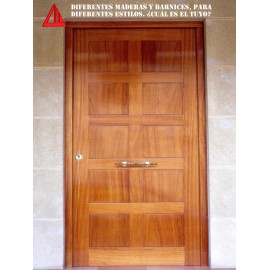 Puerta de exterior maciza de Iroko barnizada Nogal claro